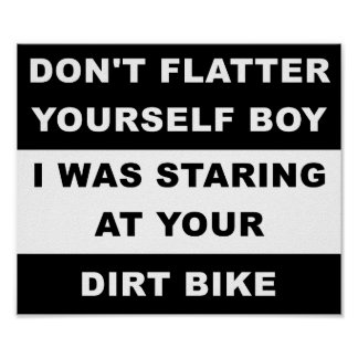 Póster Mirada de su poster divertido de Dirtbike