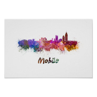 Póster Mobile skyline in watercolor