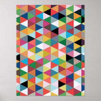 Poster modelado triángulo geométrico colorido póster