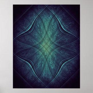 Póster Modelo abstracto del verde azul