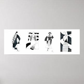 Póster Modelo blanco y negro inspirado por el poster de