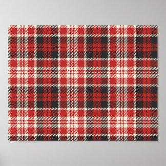 Póster Modelo rojo y negro de la tela escocesa