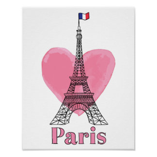 Poster moderno de la torre Eiffel del amor rosado Póster