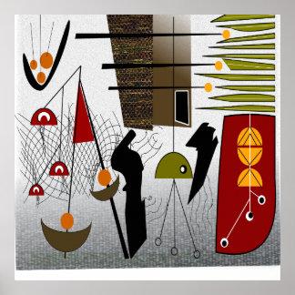 Poster moderno del arte abstracto de los mediados