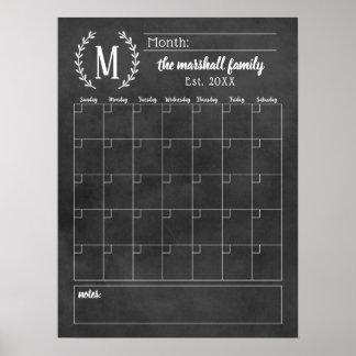 Póster Monograma mensual de la pizarra del calendario el