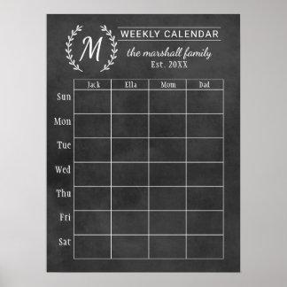 Póster Monograma semanal de la pizarra del calendario el