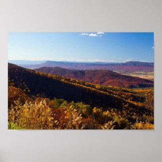Póster Montaña en caída, Virginia de Massanutten