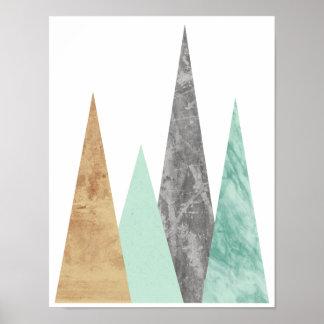 Póster Montañas de cobre y de la menta. Geométrico