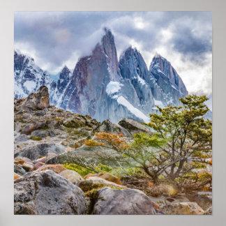 Póster Montañas Nevado en el EL Chalten Argenti de Laguna