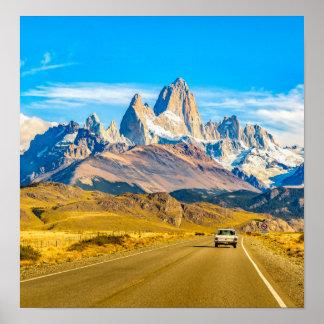 Póster Montañas Nevado los Andes, EL Chalten, la