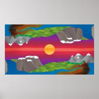 Póster Montañas reflejadas