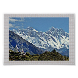 Póster Montañas y glaciares de HIMALAYA: Frontera