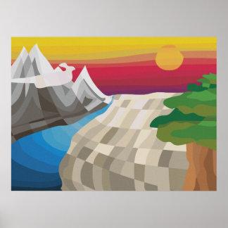 Póster Montañas y llanos