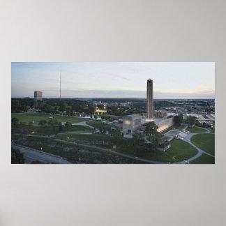 Póster Monumento de la libertad y edificio de BMA, Kansas