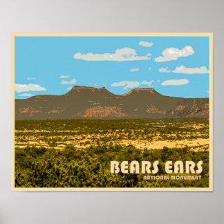 Póster Monumento nacional de los oídos de los osos
