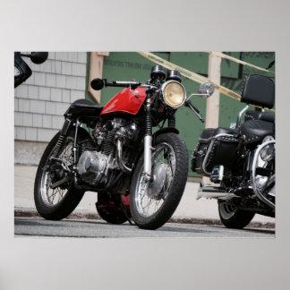 Póster Motocicleta del palo de golf del corredor del café