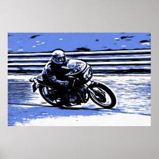 Póster Motocicleta retra que compite con el poster