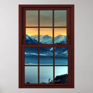 Póster Mountain View de madera de la ventana de imagen de