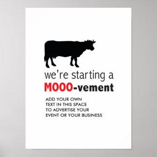 Póster Movimiento libre del amante de la vaca de la