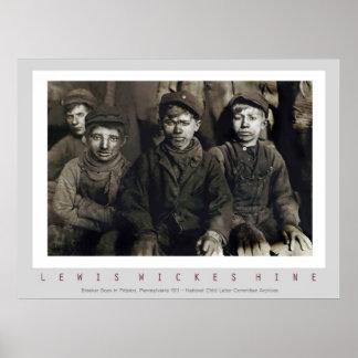 Póster Muchachos del triturador de Lewis Wickes Hine