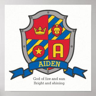 Póster Muchachos nombre de Aiden y poster del escudo del