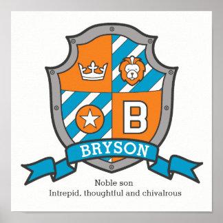 Póster Muchachos nombre de Bryson y poster anaranjado del