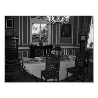 Póster Muebles antiguos del comedor del vintage