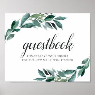 Póster Muestra abundante del Guestbook del boda del
