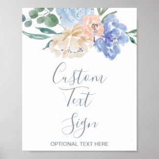 Póster Muestra de encargo del texto del boda floral azul