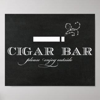 Póster Muestra de la barra del cigarro de la pizarra