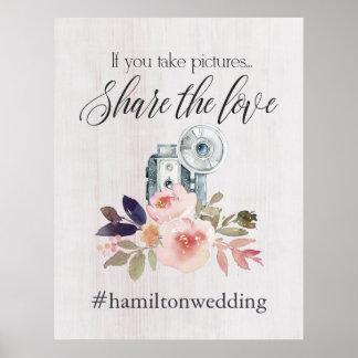 Póster Muestra del instagram del hashtag del boda