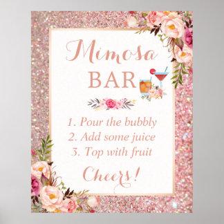 Póster Muestra floral del boda de la barra del Mimosa del
