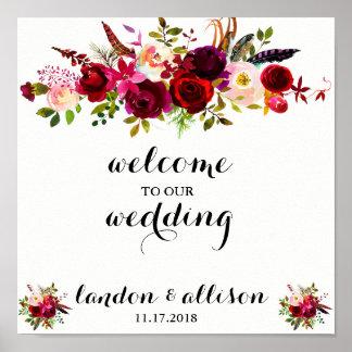 Póster Muestra floral rústica del boda de la acuarela de