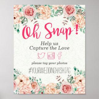 Póster Muestra rápida floral del boda de Hashtag de la