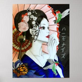 Póster Mujer japonesa hermosa de Handrawn con la mariposa