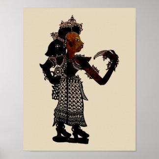 Póster Mujer malasia antigua de la marioneta de la sombra