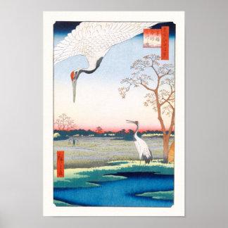 Póster Multa de Minowa Kanasugi Mikawashima Hiroshige de