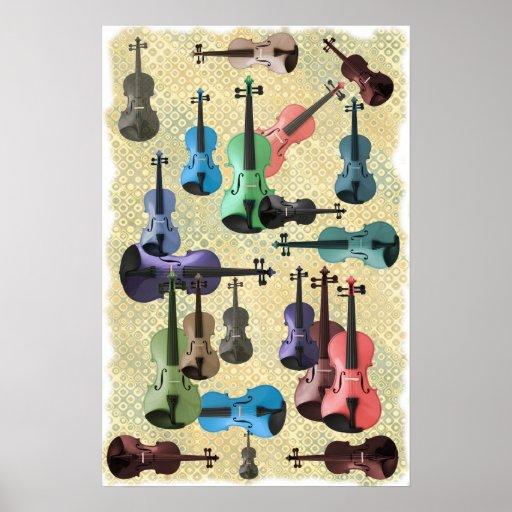 Poster multicolor del papel pintado del violín