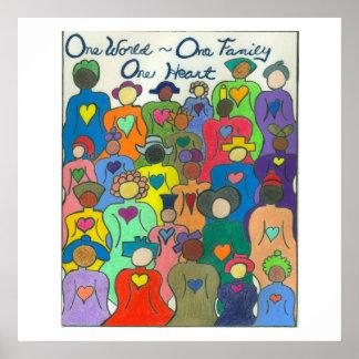 Póster Mundo multicultural del poster uno, una familia,