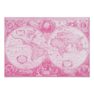 Póster Mundo rosado antiguo