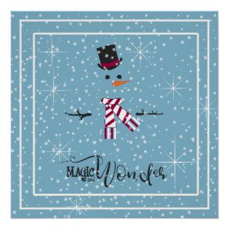 Póster Muñeco de nieve ID440 azul del navidad de la magia