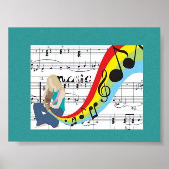 Póster Música notas colores