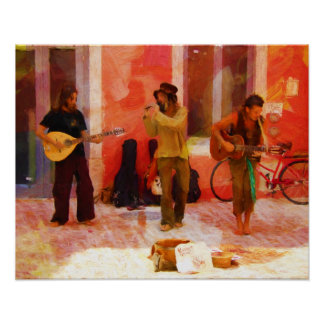 Póster Músicos de la calle que tocan la mandolina y la
