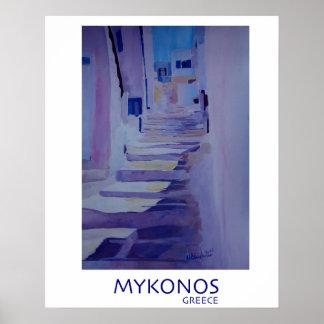 Póster Mykonos Grecia - poster retro del estilo