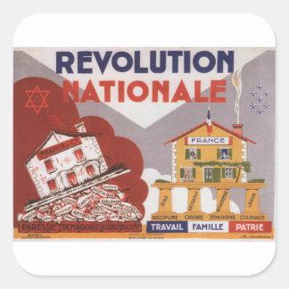 Poster nacional de la propaganda de la revolución pegatina cuadrada