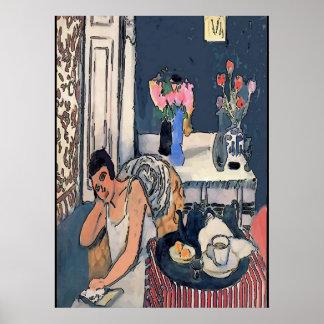 Póster Nancy a breakfast con Flowersl, Matisse especie