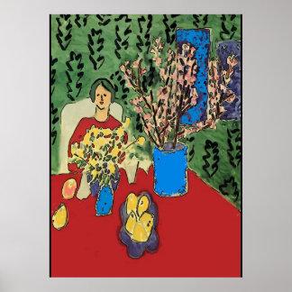 Póster Nancy en la tabla con Flowersl, estilo de Matisse