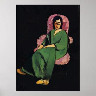 Póster Nancy en verde, sentándose, estilo de Matisse