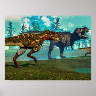 Póster Nanotyrannus que caza el pequeño tyrannosaurus