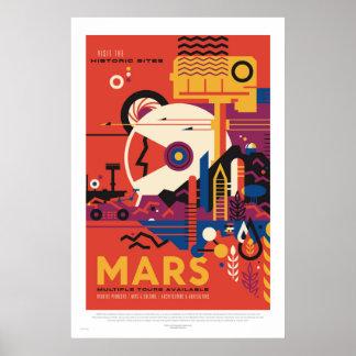 Póster NASA - Poster retro del viaje del viaje de Marte